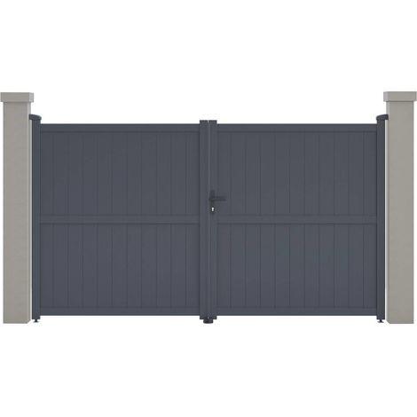"Portail aluminium ""Maurice"" - 299.5 x 155.9 cm - Gris"