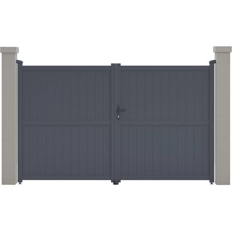 "Portail aluminium ""Maurice"" - 299.5 x 180.9 cm - Gris"