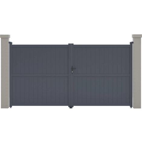 "Portail aluminium ""Maurice"" - 349.5 x 180.9 cm - Gris"