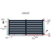 Portail Aluminium Miami Coulissant - Couleur : Gris - Hauteur : 1600 mm - plusieurs largeurs disponibles