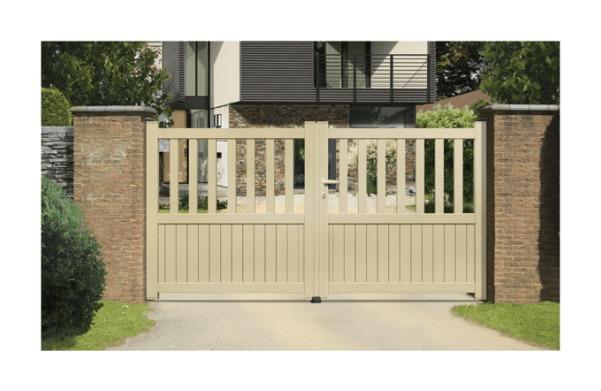 Portail Aluminium Ramatuelle - Coulissant 2 Vantaux (assemblés) - Couleur - Blanc RAL 9010 satiné, Longueur - 3,5m
