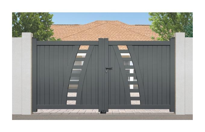 Portail Aluminium Rayol - Coulissant 2 Vantaux (assemblés) - Couleur - Blanc RAL 9010 satiné, Longueur - 4m
