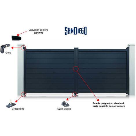 Portail aluminium San Diego battant à motoriser - Couleur : Gris - plusieurs largeurs disponibles