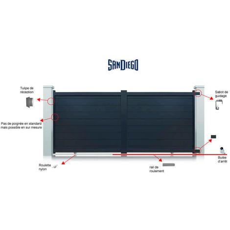 Portail aluminium San Diego coulissant 2 vantaux - Couleur : Gris - Hauteur : 1800 mm - plusieurs largeurs disponibles