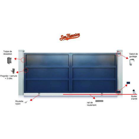 Portail aluminium San Francisco coulissant manuel - Couleur : Gris - Hauteur : 1800 mm - plusieurs largeurs disponibles
