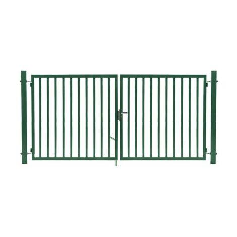 Portail Barreaudé Vert JARDIPLUS - Largeur 3m - 1 mètre