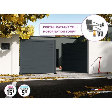 Portail battant YEL Gris 7016 - L356 cm X H172 cm en aluminium motorisé Somfy AUTOUR DU PORTAIL