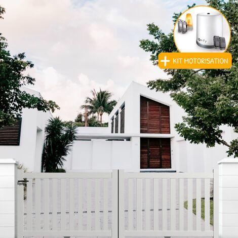 Portail coulissant aluminium en KIT Ajouré Blanc et Motorisation
