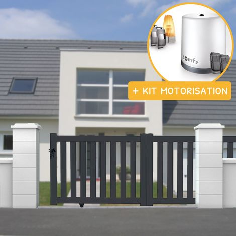Portail coulissant aluminium en KIT Ajouré Gris et Motorisation
