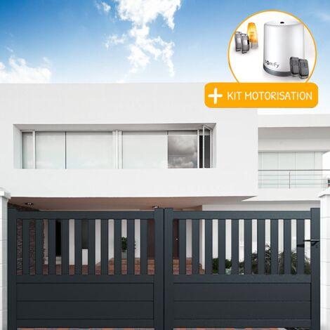Portail coulissant aluminium en KIT Semi-ajouré Gris et Motorisation