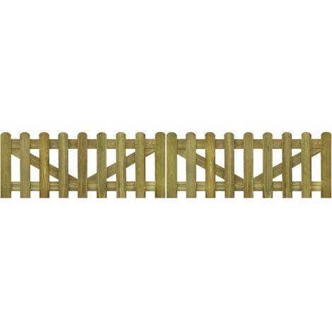 Portail de clôture à piquets 2 pcs Bois imprégné 300x60 cm