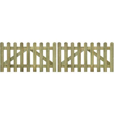 Portail de clôture à piquets 2 pcs Bois imprégné 300x80 cm