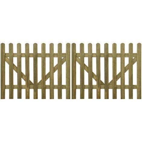 Portail de clôture à piquets 2 pcs Bois imprégné FSC 300x120 cm