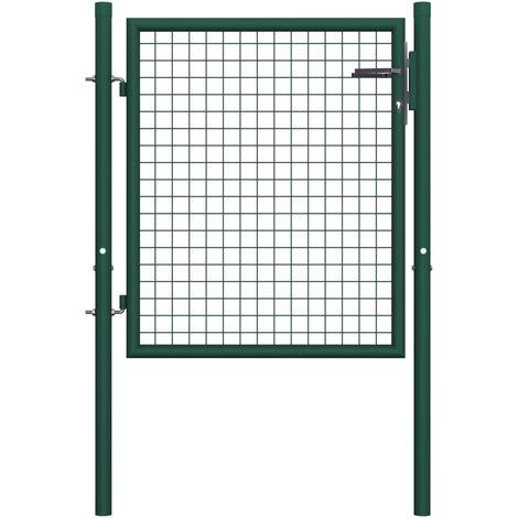 Portail de cloture Acier 100x75 cm Vert