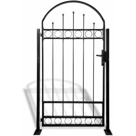 Portail de clôture avec dessus arqué et 2 poteaux 100 x 200 cm