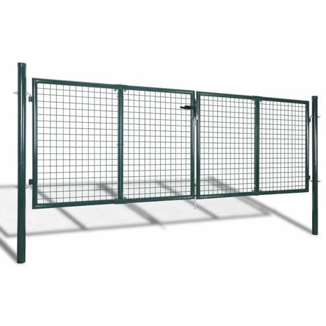 Portail de cloture de jardin 289x100 cm / 306x150 cm Acier Vert
