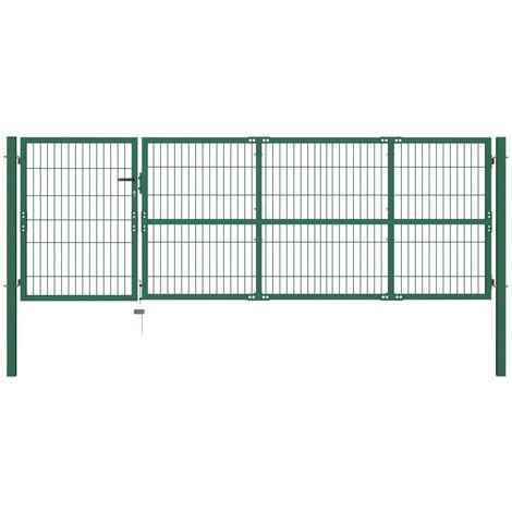 Portail De Cloture De Jardin Avec Poteaux 350X100 Cm Acier Vert