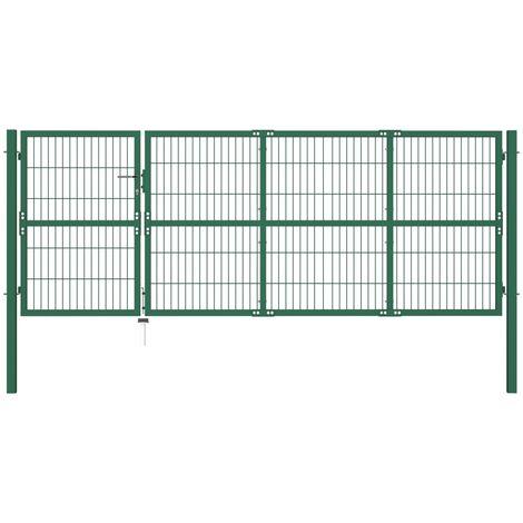 Portail De Cloture De Jardin Avec Poteaux 350X120 Cm Acier Vert