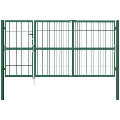 Portail De Cloture De Jardin Avec Poteaux 350X140 Cm Acier Vert