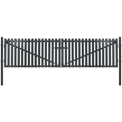Portail de clôture double porte Acier 400 x 175 cm Anthracite
