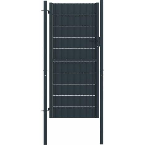 Portail de clôture PVC et acier 100x124 cm Anthracite