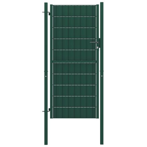 Portail de clôture PVC et acier 100x164 cm Vert