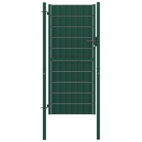 Portail de clôture PVC et acier 100x204 cm Vert
