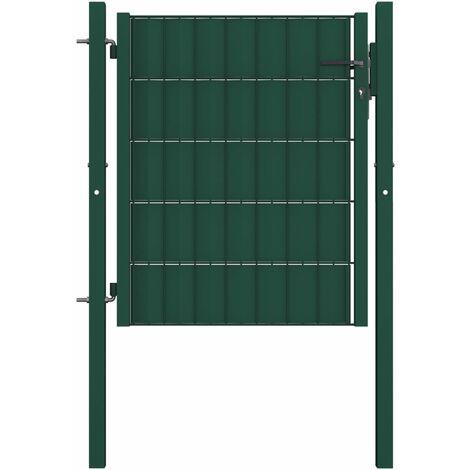 Portail de clôture PVC et acier 100x81 cm Vert