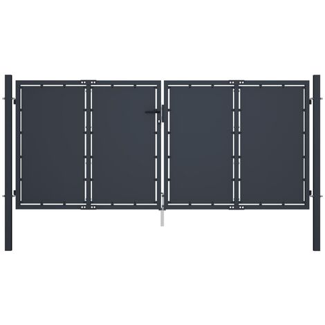 Portail de jardin Acier 300 x 125 cm Anthracite