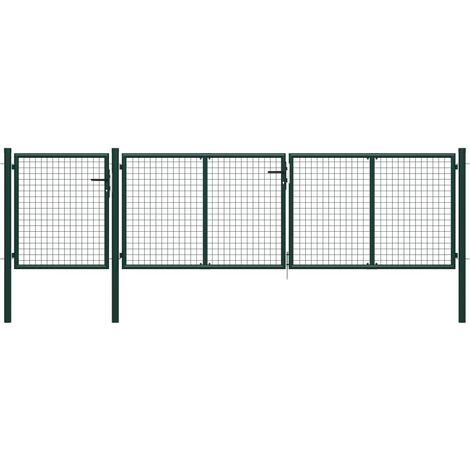 Portail de jardin Acier 400 x 100 cm Vert