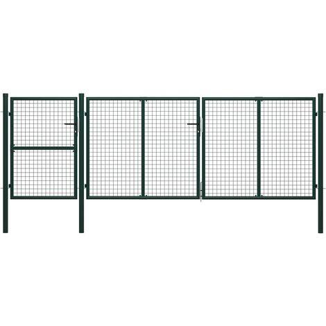 Portail de jardin Acier 400 x 125 cm Vert