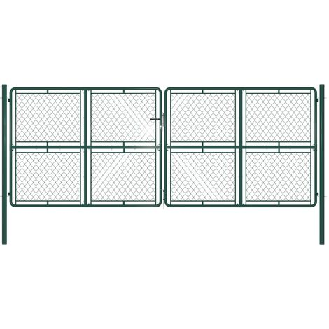 Portail de jardin Acier 400 x 150 cm Vert