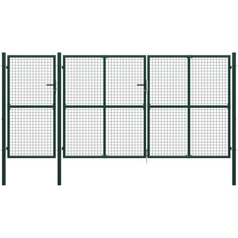 Portail de jardin Acier 400 x 175 cm Vert
