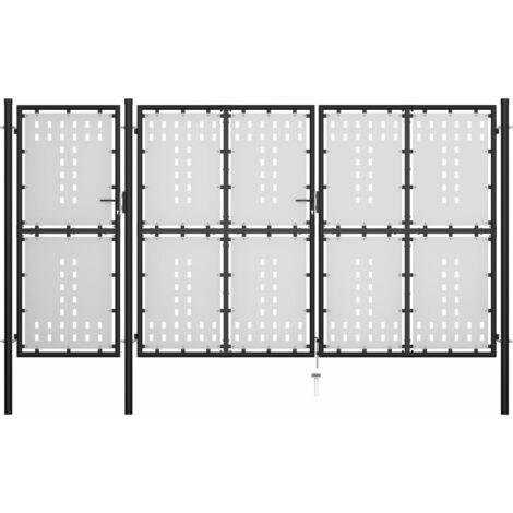 Portail de jardin Acier 400 x 200 cm Noir