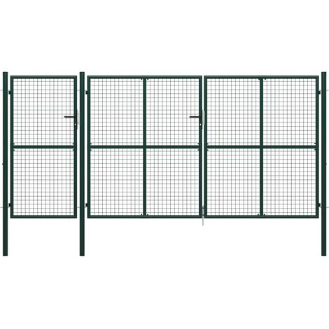 Portail de jardin Acier 400 x 200 cm Vert