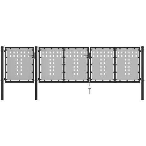 Portail de jardin Acier 400 x 75 cm Noir