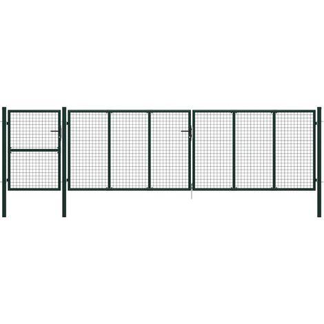 Portail de jardin Acier 500 x 125 cm Vert
