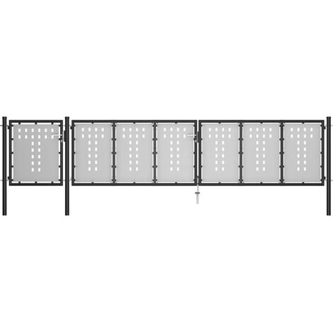 Portail de jardin Acier 500 x 75 cm Noir