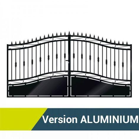 portail double battants aluminium opale noir 1m70. Black Bedroom Furniture Sets. Home Design Ideas