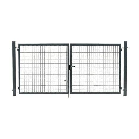 Portail Grillagé Gris JARDIMALIN - Largeur 3m - 1,20 mètre