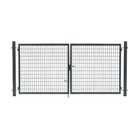 Portail Grillagé Gris JARDIMALIN - Largeur 3m - 1,50 mètre