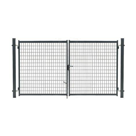 Portail Grillagé Gris JARDIMALIN - Largeur 4m - 1,20 mètre