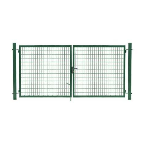 Portail Grillagé Vert JARDIMALIN - Largeur 3m - 1 mètre