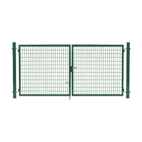Portail Grillagé Vert JARDIMALIN - Largeur 3m - 1,50 mètre