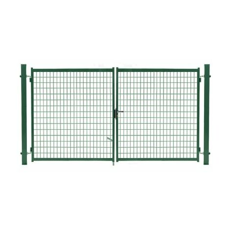 Portail Grillagé Vert JARDIMALIN - Largeur 4m - 1,50 mètre