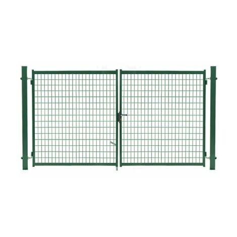 Portail Grillagé Vert JARDIMALIN - Largeur 4m - 2 mètre