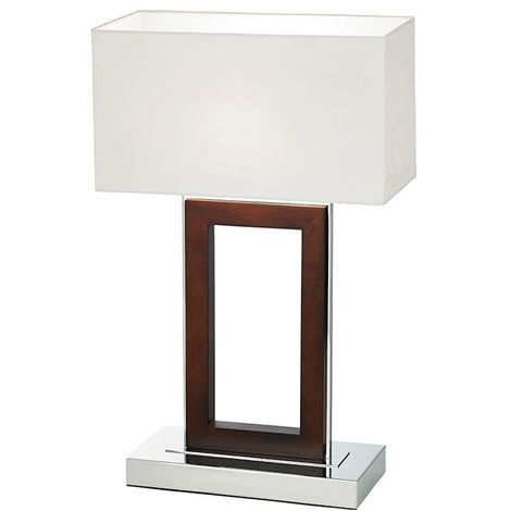 Portal Table Lamp Dark Wood Polished Chrome Base - Cream Faux Suede