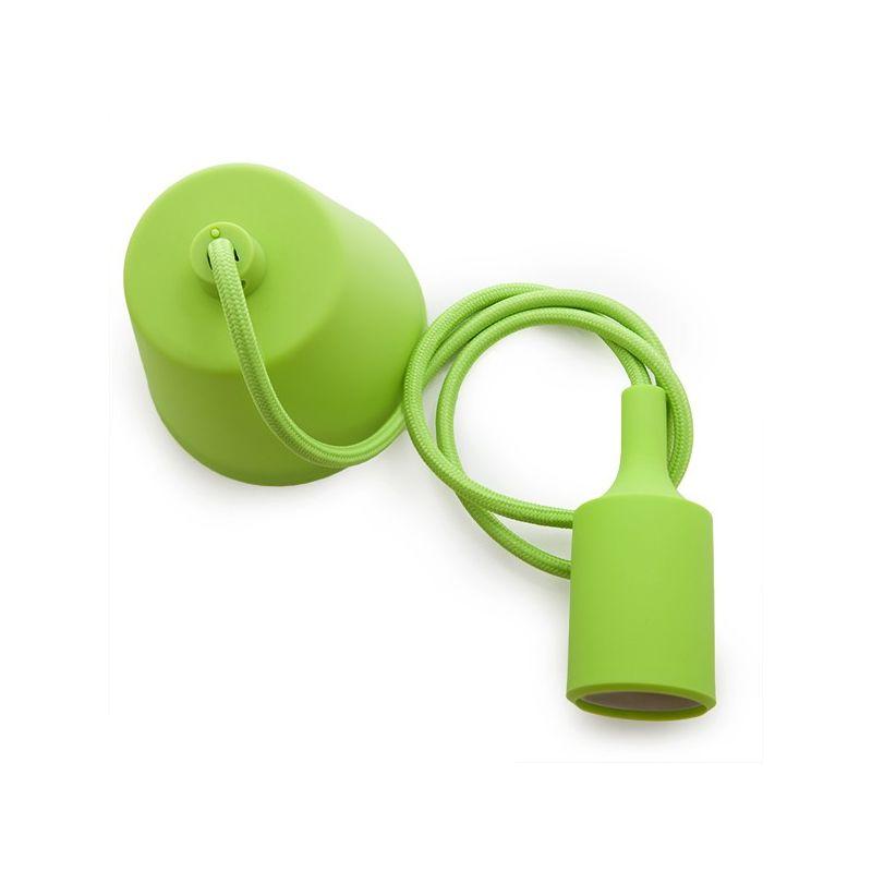 Greenice - Portalampada E27 Cavo - Rosone - Colore Verde (HO-CAB-E27-G)