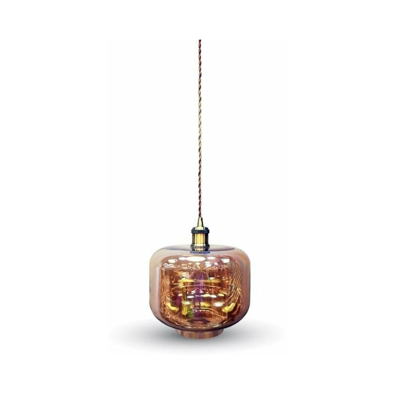V-tac - portalampada pendente ambra d280 220-240 volt CE E27 IP20 interno vetro tec 611138