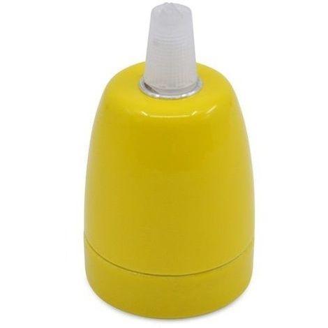 Portalampara de ceramica para bombilla LED E27 Amarillo